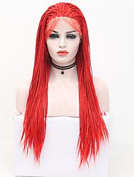 abordables -Perruque Lace Front Synthétique Box Braids Tressage Lace Frontale Perruque Long Rouge Cheveux Synthétiques 24 pouce Femme Ajustable Résistant à la chaleur Soirée Rouge
