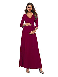 cheap -A-Line V Neck Ankle Length Chiffon Bridesmaid Dress with Sash / Ribbon / Maternity
