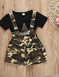 cheap -Baby Girls' Basic Print Print Short Sleeve Regular Regular Cotton Clothing Set Black / Toddler