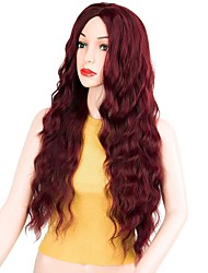 cheap -Synthetic Wig Curly Middle Part Wig Long Dark Red Synthetic Hair 22 inch Women's Party Red
