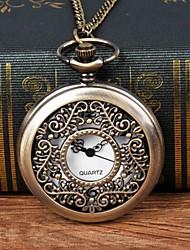 Недорогие -Муж. Карманные часы Кварцевый Бронза С гравировкой Повседневные часы Крупный циферблат Аналоговый Мода Скелет - Бронзовый