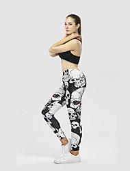 cheap -Women's High Rise Yoga Pants Fashion Running Fitness Tights Activewear Tummy Control Micro-elastic Slim / Skull