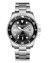 cheap -WLISTH Men's Steel Band Watches Analog Quartz Classic Style Casual Water Resistant / Waterproof Calendar / date / day Noctilucent / One Year / Stainless Steel / Stainless Steel