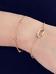cheap -2pcs Women's Chain Bracelet Link / Chain Ball Shell Stylish Holiday Alloy Bracelet Jewelry Gold For Daily