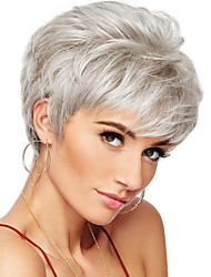 cheap -Human Hair Wig Short Curly Natural Wave Pixie Cut Layered Haircut Asymmetrical Short Hairstyles 2020 White Life Classic Natural Hairline Capless Women's Medium Auburn#30 Natural Black Beige Blonde