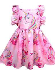 Недорогие -Дети Девочки Симпатичные Стиль На выход Unicorn Радужный Без рукавов До колена Платье Розовый