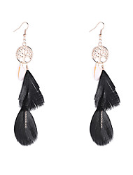 cheap -Women's Drop Earrings Earrings Dangle Earrings Retro Tree of Life Feather Vintage Bohemian European Ethnic Fashion Feather Shell Earrings Jewelry Black / Red / Blue For Daily Holiday Festival 1 Pair