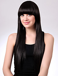 cheap -Human Hair Wig Long kinky Straight Natural Straight Bob Middle Part Black Natural Black Waterfall Soft Hot Sale Capless Women's Natural Black 24 inch / Natural Hairline / Natural Hairline