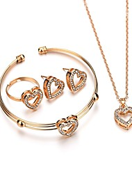 cheap -Women's Cuff Bracelet Drop Earrings Pendant Necklace Heart European Sweet Fashion Rhinestone Earrings Jewelry Gold For Party Engagement Holiday Festival 5pcs / Bridal Jewelry Sets / Open Ring