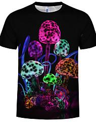 cheap -Men's Plus Size Cotton T-shirt - Graphic Print Round Neck Black