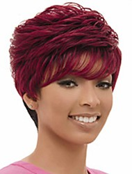 cheap -Human Hair Capless Wigs Human Hair Natural Wave / Water Wave Pixie Cut / Layered Haircut / Short Hairstyles 2019 Odor Free / Fashionable Design / Hot Sale Red / Burgundy Short Capless Wig Women's