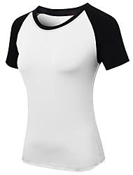 cheap -YUERLIAN Women's Running Shirt Violet Black with White White Fuchsia Orange Elastane Running Fitness Gym Workout Tee / T-shirt Short Sleeve Sport Activewear Breathable Quick Dry Sweat-wicking High