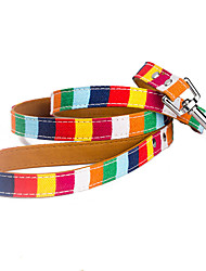 cheap -Dog Pets Collar Leash Portable Cute and Cuddly Safety British PU Leather Baby Pet Rainbow
