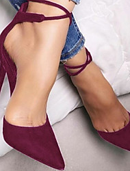 cheap -Women's Suede Spring & Summer / Fall & Winter Sweet / Minimalism Heels Stiletto Heel Pointed Toe Blue / Khaki / Burgundy