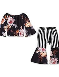 cheap -Baby Girls' Active / Basic Striped / Floral Patchwork / Print Long Sleeve Regular Cotton Clothing Set Black / Toddler