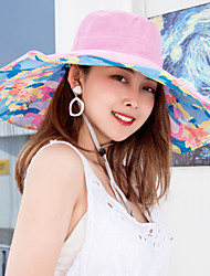 cheap -Women's Active Basic Cute Cotton Polyester Sun Hat-Solid Colored Floral Spring Summer Purple Fuchsia Light Blue