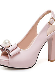 cheap -Women's Sandals Chunky Heel Peep Toe Bowknot / Imitation Pearl / Buckle PU Summer Black / White / Pink / Wedding / Party & Evening / Party & Evening