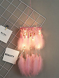 cheap -Handmade Dream Catchers LED Lights Pink Feather Wall Decorations