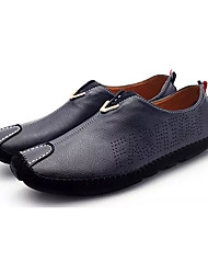 cheap -Men's Loafers & Slip-Ons Driving Shoes British Daily Cowhide Breathable Black Orange Dark Blue Spring