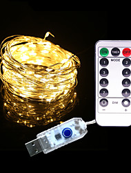 cheap -5m String Lights 50 LEDs 1 13Keys Remote Controller 1 set Warm White RGB White Waterproof Solar Party USB Powered