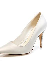 cheap -Women's Wedding Shoes Stiletto Heel Pointed Toe Sparkling Glitter Satin Minimalism Spring &  Fall White