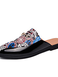 cheap -Men's Moccasin Patent Leather Fall / Spring & Summer Casual / British Clogs & Mules Breathable Color Block Black