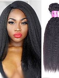 cheap -6 Bundles Brazilian Hair kinky Straight Virgin Human Hair Remy Human Hair Natural Color Hair Weaves / Hair Bulk Bundle Hair One Pack Solution 8-28 inch Natural Color Human Hair Weaves Fashionable