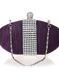 cheap -Women's Crystals Silk Evening Bag Solid Color Purple