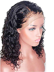 cheap -Human Hair Lace Front Wig Bob Short Bob style Brazilian Hair Curly Wavy Black Wig 130% Density with Baby Hair Natural Hairline For Black Women 100% Virgin 100% Hand Tied Women's Short Human Hair Lace