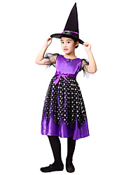 cheap -Witch Dress Cosplay Costume Hat Kid's Girls' Dresses Halloween Halloween Carnival Masquerade Festival / Holiday Tulle Cotton Purple Carnival Costumes Patchwork
