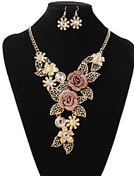cheap -Women's Bridal Jewelry Sets Flower Boho Oversized Earrings Jewelry Gold For Wedding Party 1 set