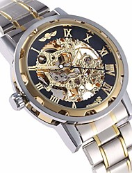 cheap -WINNER Men's Skeleton Watch Wrist Watch Mechanical Watch Automatic self-winding Stainless Steel Silver Hollow Engraving Analog Luxury fancy - Golden