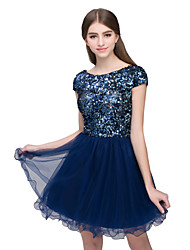 cheap -A-Line Beautiful Back Sparkle Homecoming Cocktail Party Dress Jewel Neck Short Sleeve Short / Mini Tulle with Sequin 2020