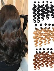 cheap -6 Bundles Brazilian Hair Body Wave Remy Human Hair Natural Color Hair Weaves / Hair Bulk Ombre Hair Weaves / Hair Bulk Bundle Hair 8-24 inch Human Hair Weaves Soft Extention Best Quality Human Hair