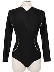 cheap -Women's One Piece Swimsuit Swimwear Bodysuit UV Sun Protection Long Sleeve Front Zip - Swimming Diving Water Sports Solid Colored Painting Summer