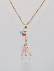 Недорогие -Жен. Ожерелья с подвесками Заявление ожерелья Цепочка Классический Башня Эйфелева башня Уникальный дизайн европейский модный Мода Хром Позолоченное розовым золотом Розовое золото 70 cm Ожерелье