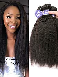 cheap -3 Bundles Peruvian Hair Yaki Straight Unprocessed Human Hair 100% Remy Hair Weave Bundles Headpiece Natural Color Hair Weaves / Hair Bulk Bundle Hair 8-28 inch Natural Color Human Hair Weaves Odor