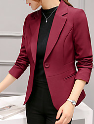 cheap -Women's Blazer Solid Colored Spandex / Polyester Coat Tops White / Black / Blushing Pink