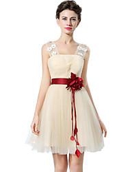 cheap -A-Line Square Neck Short / Mini Tulle Bridesmaid Dress with Sash / Ribbon / Ruched