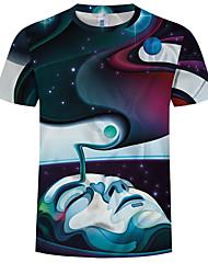 cheap -Men's Plus Size Cotton T-shirt - 3D Print Round Neck Rainbow
