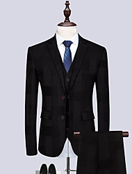 cheap -Tuxedos Tailored Fit / Standard Fit Notch Single Breasted Two-buttons Wool / Polyester Plaid / Check