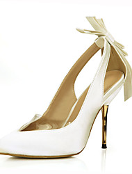 cheap -Women's Wedding Shoes Stiletto Heel Pointed Toe Bowknot / Satin Flower Silk Classic / Sweet Fall / Spring & Summer Ivory / Party & Evening
