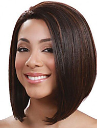 cheap -Synthetic Wig kinky Straight Bob Side Part Wig Blonde Medium Length Black / Gold Brown / Burgundy Synthetic Hair 16 inch Women's Fashionable Design Smooth Women Blonde Brown