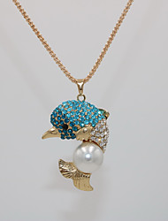 cheap -Women's Pendant Necklace Statement Necklace Classic Dolphin Animal Unique Design Trendy Fashion Imitation Pearl Chrome Pink Light Blue 70 cm Necklace Jewelry 1pc For Carnival Masquerade Street Bar
