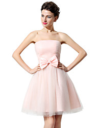 cheap -A-Line Strapless Short / Mini Tulle Bridesmaid Dress with Bow(s) / Ruched