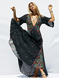 cheap -Women's Maxi Slim A Line Dress - Geometric Print V Neck Black White S M L XL