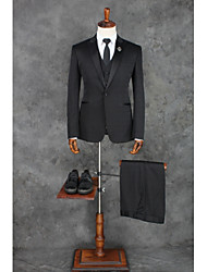 cheap -Black Solid Colored Standard Fit Cotton / Polyester Suit - Peak Single Breasted One-button / Suits