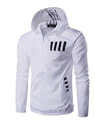abordables -Homme Quotidien Normal Veste, Géométrique Capuche Manches Longues Polyester Blanche / Noir