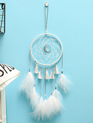 cheap -Handmade Dream Catchers Hanging White Lace Flower Dreamcatcher Wind Chimes Indiana Feather Pendant Creative Car Decoration