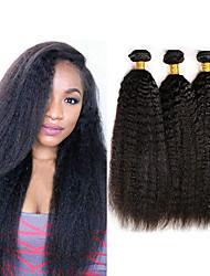 Недорогие -3 Связки Индийские волосы Яки Вытянутые Необработанные натуральные волосы 100% Remy Hair Weave Bundles 300 g Головные уборы Человека ткет Волосы Пучок волос 8-28 дюймовый Нейтральный / Без запаха